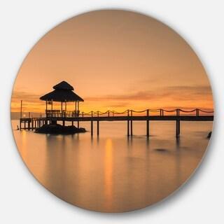 Designart 'Wonderful Wooden Pier and Hut Phuket' Sea Pier and Bridge Circle Wall Art