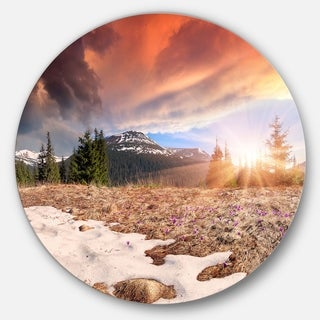 Designart 'Blooming Crocuses in Mountains' Landscape Photo Circle Wall Art