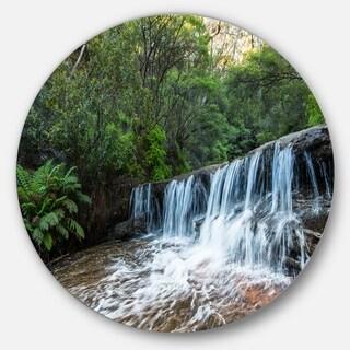 Designart 'Beautiful Waterfall in New Australia' Landscape Disc Metal Wall Art