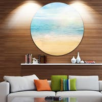 Designart 'Golden Sand with Blue Sea Waters' Beach Round Metal Wall Art