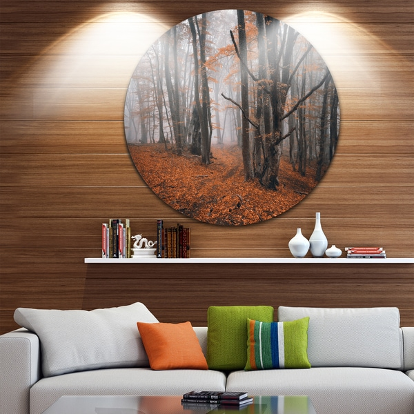Designart 'Fall Trees with Fallen Leaves' Landscape Photo Disc Metal Wall Art