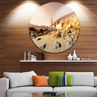 Designart 'Golden Gate in Bright Day' Landscape Circle Wall Art