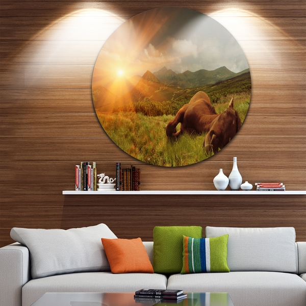 Designart 'Sleeping Horse in Green Mountains' Landscape Photo Round Metal Wall Art