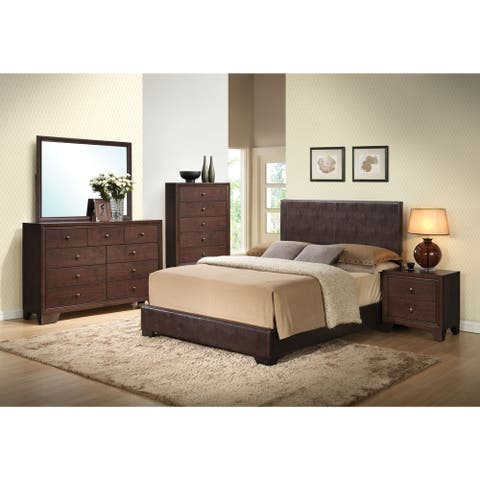 Acme Furniture Ireland Brown Faux Leather 4-Piece Espresso Bedroom Set