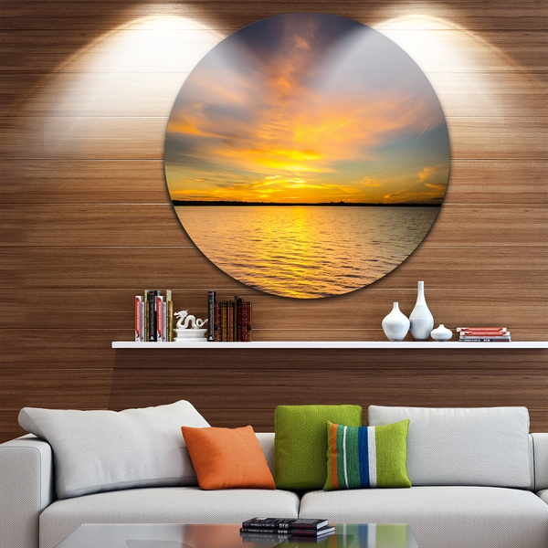 Designart 'Yellow Sunrise Light Hitting Waters' Seashore Round Metal Wall Art