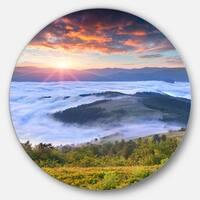 Designart 'Colorful Sunrise Over Foggy Waters' Landscape Photo Large Disc Metal Wall art