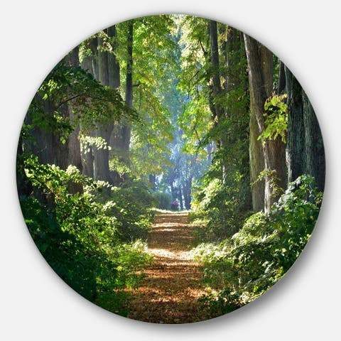 Designart 'Bright Green Forest in Morning' Landscape Photo Round Metal Wall Art