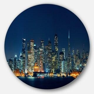 Designart 'San Francisco Skyline at Night' Cityscape Round Metal Wall Art
