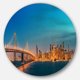 Designart 'San Francisco Skyline at Night' Cityscape Disc Metal Wall Art