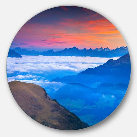 Designart 'Summer Sunrise in Italian Alps' Landscape Photo Circle Wall Art