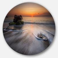 Designart 'Stormy Sea with Rushing White Waves' Beach Disc Metal Wall Art