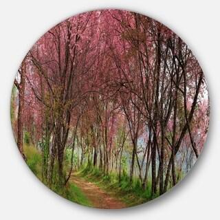 Designart 'Sakura Pink Flowers in Thailand' Landscape Round Wall Art