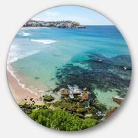 Designart 'Expansive Sydney Bondi Beach' Seashore Disc Metal Wall Art