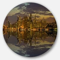 Designart 'San Francisco at Sunset Panorama' Cityscape Round Wall Art