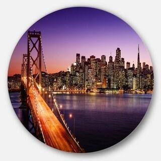 Designart 'San Francisco skyline and Bay Bridge' Sea Bridge Disc Metal Wall Art