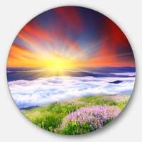 Designart 'Sunrise with Blooming Flowers' Landscape Art Disc Metal Wall Art