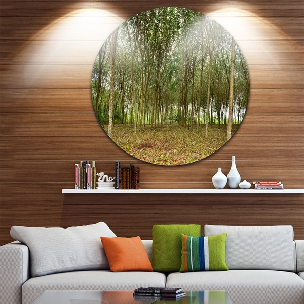 Designart 'Rubber Tree Plantation during Midday' Landscape Circle Wall Art