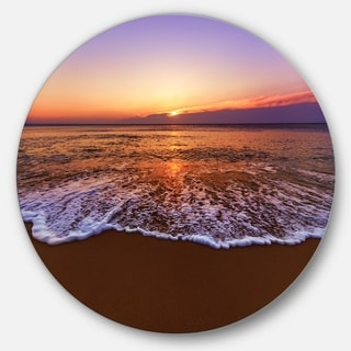 Link to Designart 'Orange Tinged Sea Waters at Sunset' Beach Large Disc Metal Wall art Similar Items in Metal Art