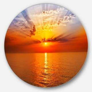 Designart 'Orange Sea Sunrise under Blue Sky' Seashore Disc Metal Wall Art
