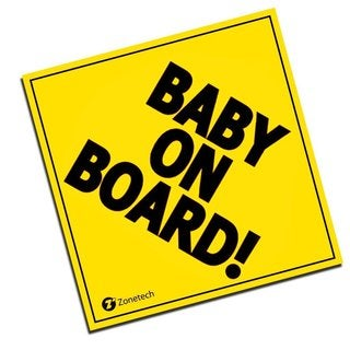 Zone Tech Yellow 'Baby On Board' Magnet