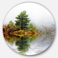 Designart 'Pine Tree with Reflection' Landscape Photo Circle Wall Art