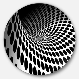 Designart 'Waves and Circles Black n White' Abstract Art Circle Metal Wall Art