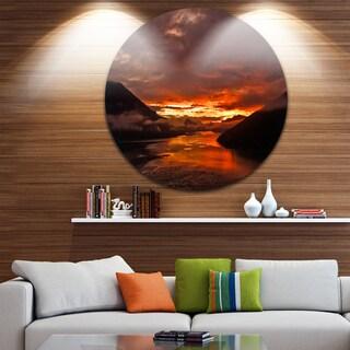 Designart 'Sunrise in Cloudy Day New Zealand' Landscape Photo Large Disc Metal Wall art