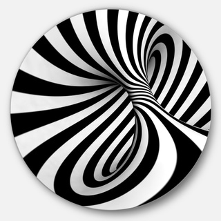 Designart 'Spiral Black n' White' Abstract Art Large Circle Metal Wall art
