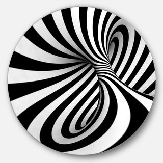Designart 'Spiral Black n' White' Abstract Art Large Circle Metal Wall art