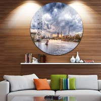 Designart 'London Skyline and River Thames' Cityscape Large Disc Metal Wall art