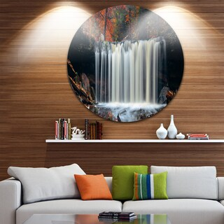 Designart 'Autumn Waterfall with Colorful Foliage' Modern Landscape Large Disc Metal Wall art
