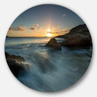 Designart 'Sydney Seashore at Sunset' Seashore Round Metal Wall Art