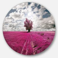 Designart 'Purple Tree Dreamscape' Landscape Photo Disc Metal Artwork