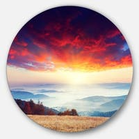 Designart 'Colorful Clouds and Foggy Hills' Landscape Photo Circle Wall Art