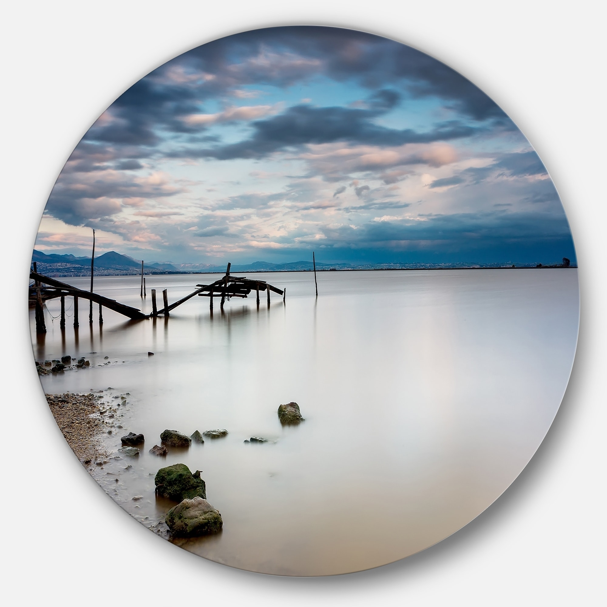 Designart Magic Sunrise With Old Wooden Pier Sea Pier And Bridge Circle Wall Art Overstock 14251990