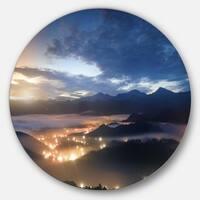 Designart 'Blue Cloudy Summer Sunrise' Landscape Photo Large Disc Metal Wall art