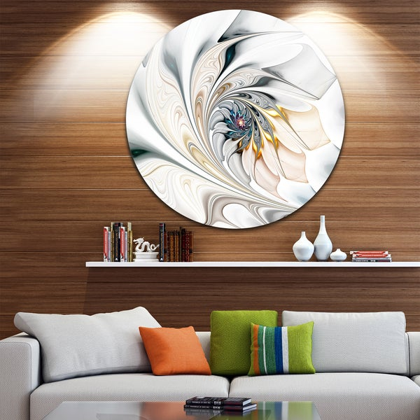 Shop Designart \'White Stained Glass Floral Art\' Floral Circle Metal ...