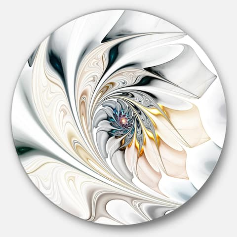 ceb7ee8aba Designart 'White Stained Glass Floral Art' Floral Circle Metal Wall Art