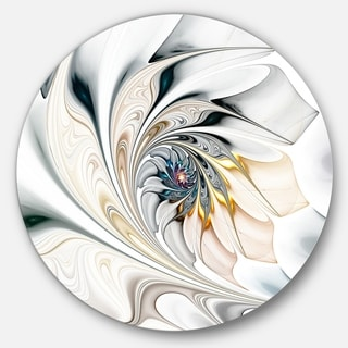 Designart 'White Stained Glass Floral Art' Floral Disc Metal Wall Art