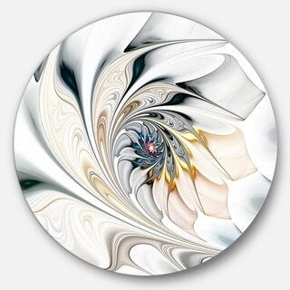 Designart 'White Stained Glass Floral Art' Floral Circle Metal Wall Art (4 options available)