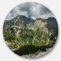 Designart 'Panoramic Vista Over Mountains' Landscape Round Wall Art
