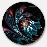 Designart 'Blue Abstract Floral Shapes' Floral Circle Wall Art