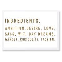 Oliver Gal 'Ingredients Gold Metallic' Framed Art