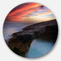 Designart 'Colorful Cabo Raso Seashore Portugal' Contemporary Seascape Round Wall Art
