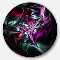 Designart 'Multicolored Abstract Floral Shapes' Floral Round Metal Wall Art