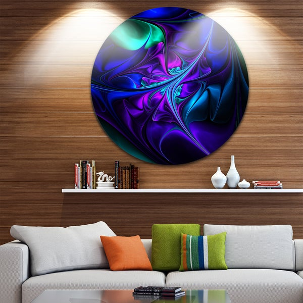 Designart 'Bright Blue Abstract Floral Shapes' Floral Large Disc Metal Wall art