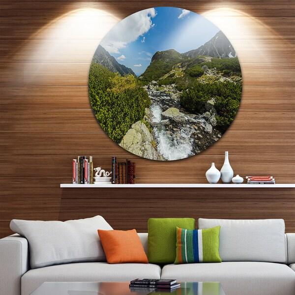 Designart 'Alpine Stream in High Mountains' Landscape Circle Wall Art