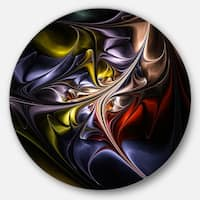 Designart 'Multicolored Stained Floral Shapes' Floral Round Wall Art