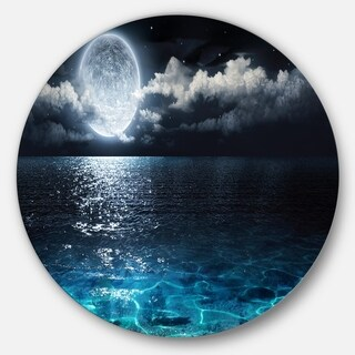 Designart 'Romantic Full Moon Over Sea' Seascape Photo Circle Wall Art