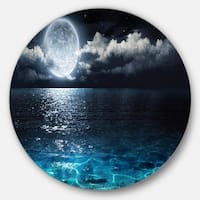 Designart 'Romantic Full Moon Over Sea' Seascape Photo Circle Wall Art